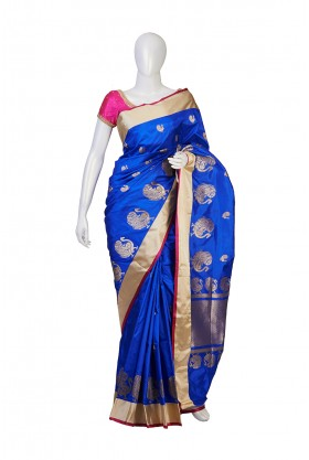 Pure Silk Royal Blue Partywear Saree