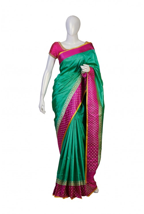 Pure Silk Sea Green Partywear Saree