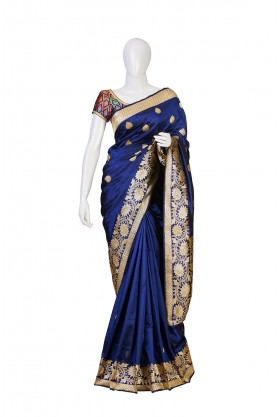 Pure Silk Nevy Blue Partywear Saree