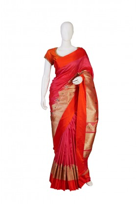 Pure Silk Rani Color Partywear Saree