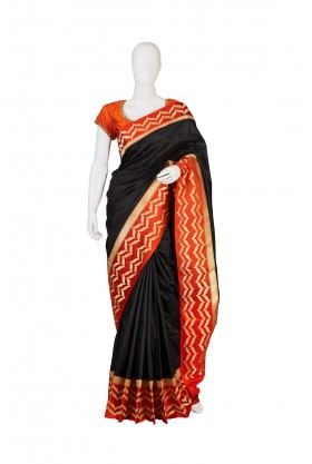 Pure Silk Black Partywear Saree