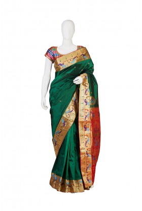 Semi Silk Green Paithani Saree