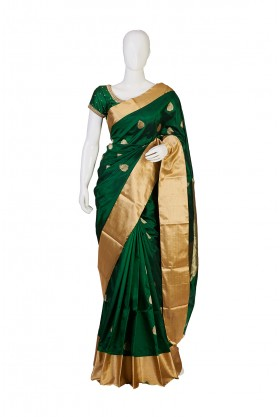 Soft Silk Green Color Partywear South Saree