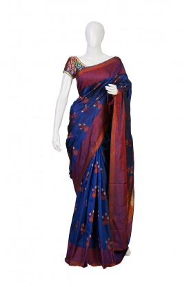 Soft Silk Nevy Blue Partywear South Saree
