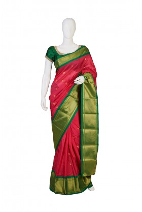 Semi Silk Rani Color Kanjeevaram Saree