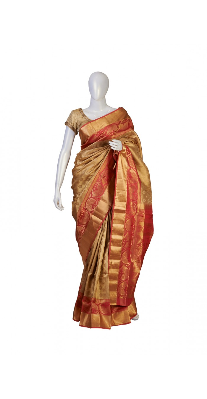 Soft Silk Beige Partywear Saree