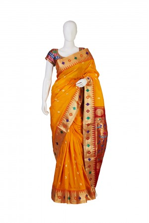 Semi Silk Golden Yellow Paithani Saree