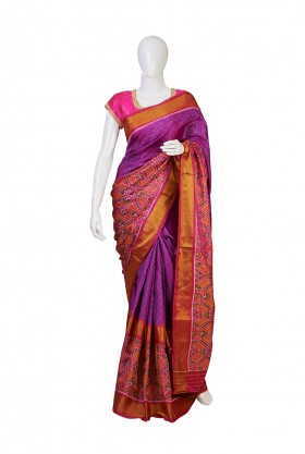 Pure Silk Majanta Color Patola Saree