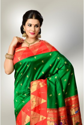 Green with Red Border Paithani