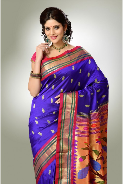 Purple Color with Red Border Paithani