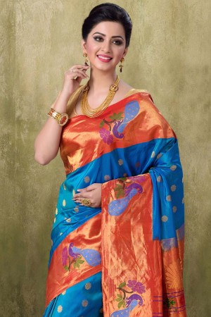Paithani Peacock Color Saree