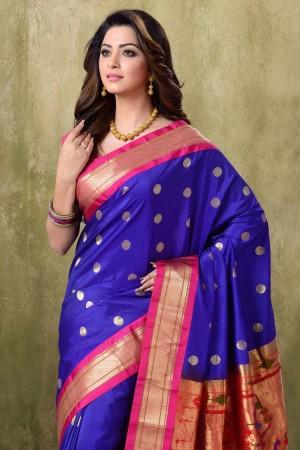 Paithani Royal Blue Color with Rani Border